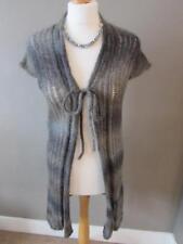 SANDWICH Ladies Grey Brown Mix Mohair & Wool Blend Long S/S Cardigan Size L VGC