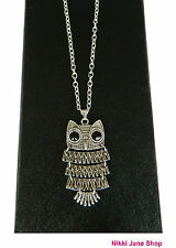 Retro Articulated Silver Owl Pendant Necklace ~ Black Eyes Vintage Style