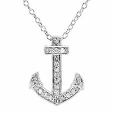 """1/10 ct Diamond Anchor Pendant in Sterling Silver, 18"""""""