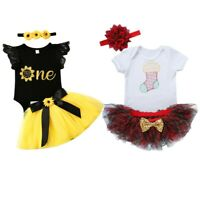 Baby Girls Christmas Romper Dress Outfits Tutu Skirt Infant Party 3PCS Clothes