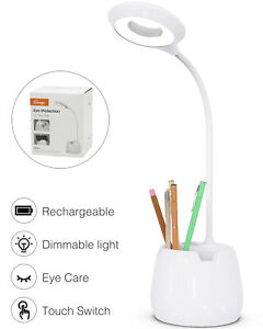 Dimmable LED Table Desk Lamp Touch Control USB Rechargeable Reading Night Light