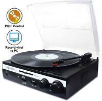 3-speed Turntable Vinyl LP Record Player Converter Built-in Stereo Speakers