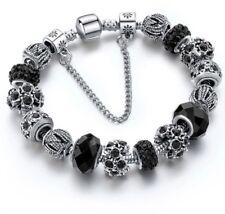 Designer Inspired Silver plated Crystal Murano Glass Beads Bracelet Black