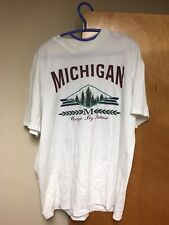 Vintage Michigan Unique by Nature T-shirt Xl White 50/50 Made in Usa Trees 90s