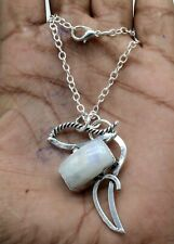 """925 Sterling Silver Rainbow Moonstone Gemstone Jewelry Necklace Size-17-18"""""""