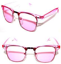 Women's Clubmaster Soho Horn Rimmed Half Shell all Pink Sunglasses Retro Vintage