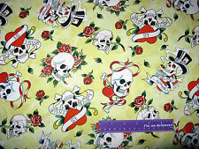 ED HARDY Love Is True Skull Roses Heart Yellow Cotton Fabric BY THE HALF YARD