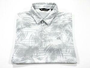 Travis Mathew L White Gray Leave Leaf Print Stripe Golf Polo Pima Cotton Blend