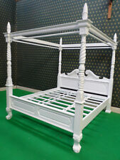 Solid WHITE Queen Anne style four poster canopy bed bedframe ~100% Mahogany Wood