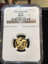 2008 GOLD PANDA 1/10 Oz. NGC MS69 MS-69 CHINA 50Y !!!!!