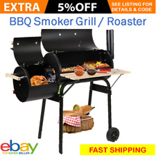 Steel BBQ Smoker Grill Wood Fired Charcoal Barbeque Oven Chamber Offset Roaster
