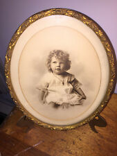 Antique Oval Wood Gesso Gilt Photograph Frame adorable Victorian Girl