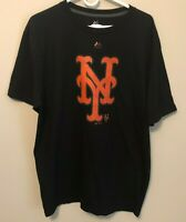 New York Mets Majestic Superior T-Shirt Black Orange MLB Mens Size XL Reflective