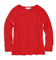 LOFT Women's M - NWT - Crimson Red Bell Split-Cuff Ribbed Knit Pullover Sweater