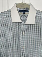 TOMMY HILFIGER Men's Dress Shirt Sz 15.5 34/35 Blue Grey Stripes Great Condition