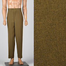 XL 40x30 1960s Mens Pants Brown Flat Front Tapered Leg Trouser Belt Loop 60s VTG
