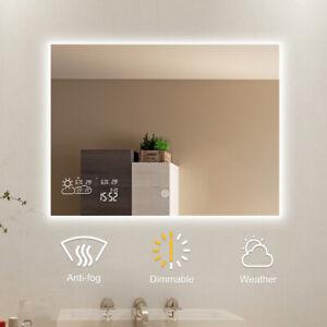 Smart Badspiegel mit LED Dimmbar Antibeschlag Wetter Datum-Horizonal 80 x 60CM