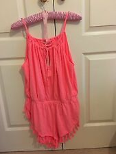 victoria's secret pink coral tassel romper beach cover up small BNWT
