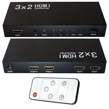 3x2 HDMI Switch & Splitter Box-FULL HD input / output selettore-TELECOMANDO AD INFRAROSSI