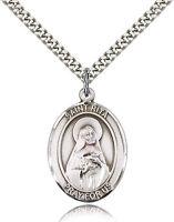 "Saint Rita  Catholic  ""Pewter"" Medal / Pendant /  w/24"" Heavy Stainless Chain"