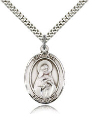 "Saint Rita  Catholic  ""Pewter"" Medal / Pendant /  w/24"" Heavy Stainless Chain"