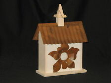 Birdhouse, Unfinished Wood, With A Metal Sunflower Opening & Metal Roof Design.