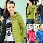 Womens Winter Warm Zipper Parka Short Collar Slim Hooded Coats Jackets Outwear