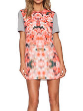 Finders Keepers Stolen Chance Pink White Flower Print T Shirt Dress XS