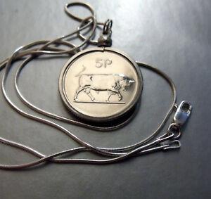 """1971 Ireland Harp & Bull Proof Pendant, 22"""" Italian .925 Sterling Snake Chain."""