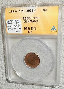 Germany 1888-J MS64 Red Brown pfennig in ANACS holder