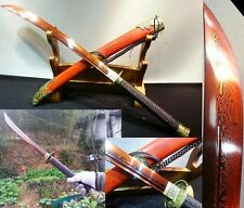 Hand Forge Chinese Broadsword Sword Red Pattern Steel Sharp Blade Red Wood Alloy