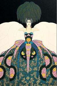 Erte Print 1987 COPACABANA COPA NIGHTCLUB Ball Gown Cape Art Deco Illustration