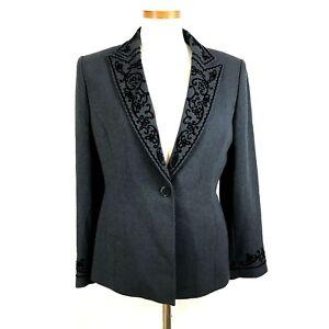 KASPER Petite Womens Gray Embroidery Trim Blazer Jacket 8P