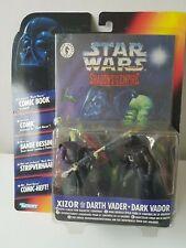 STAR WARS SHADOWS OF THE EMPIRE DARTH VADER & XIZOR FIGURES MOC + COMIC BOOK