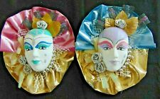 Vintage Two Ceramic Mardi Gras Masks Wall Décor Fabric Framed & Hand Painted
