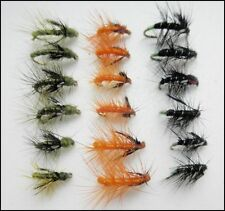 Snatcher Fishing Flies, 18 Pack, Olive, Orange, Black/Green, Mixed Sizes