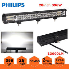 28inch 396W Ford LED Light Bar Spot Flood Combo Driving 4WD Tri Row 7D Lens 180W