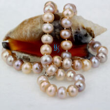"""Aa Roundel Freshwater Pearl Necklace 18"""" 8-10mm Peach Pink Lavender"""