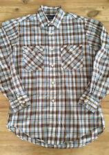 Vintage Jc Penney Plain Pockets Men's Medium Plaid Shirt Rockabilly Long Sleeve