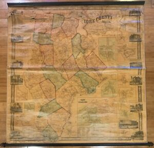 Rare Antique 1856 MAP OF YORK COUNTY MAINE Wall Map - Kennebunkport Wells Saco++