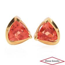 Estate Orange Padparadscha Sapphire 14K Yellow Gold Stud Earrings NR