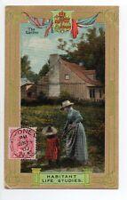 CANADA carte postale ancienne THE GARDEN Habitant life studies Jardin