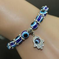 1PC Hamsa Fatima Hand Evil Eye Bracelet Handmade Beads Elastic Band Unisex XC