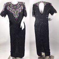 Laurence Kazar Large Beaded Full-length Gown Black Silk Maxi Dress Open Back
