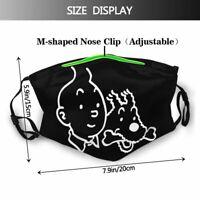 1 Masque de protection tissu coton lavable + avec 2 filtres PM 2.5 TINTIN 2