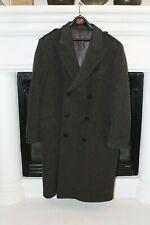 Vintage Mens 100% Pure Wool Gray Genuine Merino Coating Trench Coat 46 XL EUC
