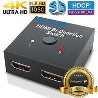2-Port HDMI Bi-directional 2x1 Switch Switcher & 1x2 Splitter Selector 3D 4K US