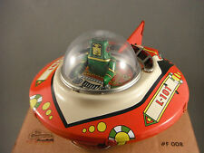 Tin Toy - Space Commander Ship  Green Pilot - Bump n Go Crank Friction