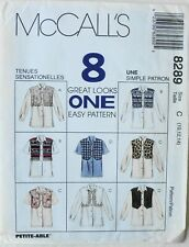 McCalls 8289 Misses 8 Great Looks Shirts Mock Vests Sewing Pattern Size 10-12-14