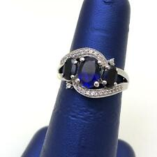 Women Sterling Silver Cz Blue Sapphire 3 Stone Fancy Oval Bypass Split Ring Sz 7
